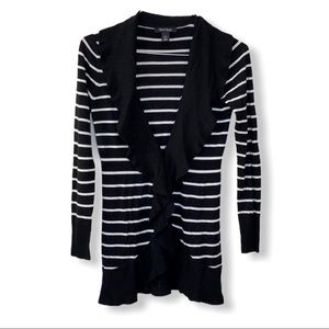 Black and White Stripe Cardigan with Front Ruffles
